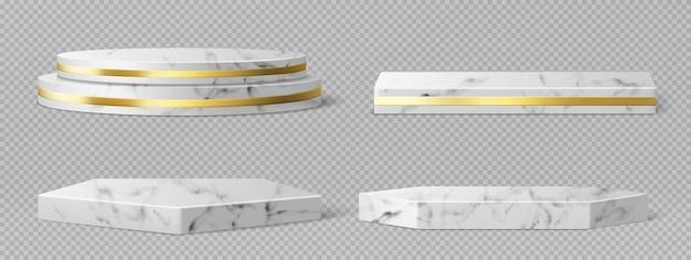 Pedestales de mármol o podios con marcos dorados y decoración, bordes redondos y cuadrados en escenarios geométricos vacíos, exhibiciones de piedra para presentación de productos, plataformas de galería conjunto de vectores 3d realista vector gratuito