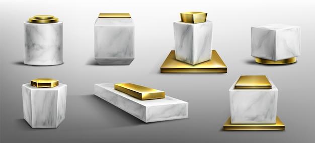 Pedestales de mármol y oro para exhibir productos, exhibiciones o trofeos. vector gratuito