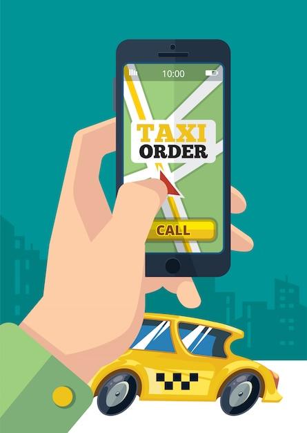 Pedido de taxi transporte urbano mano smartphone Vector Premium
