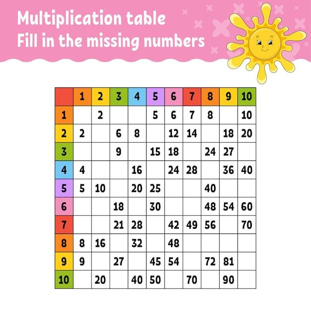 Pega los números que faltan. aprender la tabla de multiplicar. Vector Premium