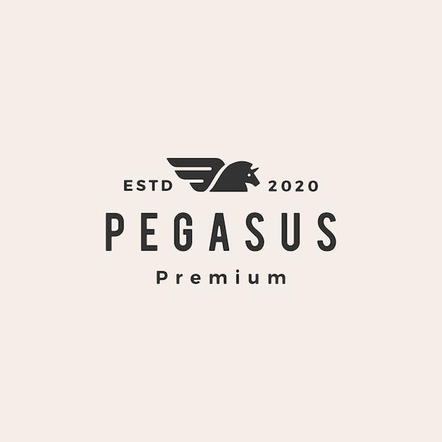 Pegasus unicornio caballo hipster vintage logo icono ilustración Vector Premium