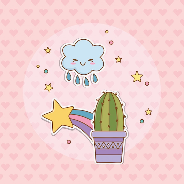 Pegatina de cactus estilo kawaii Vector Premium