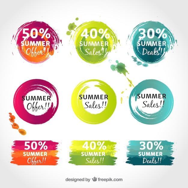 Pegatinas Coloridas Promocionales Descargar Vectores Gratis