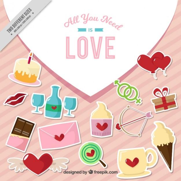 Pegatinas decorativas con corazones descargar vectores - Fotos decorativas ...