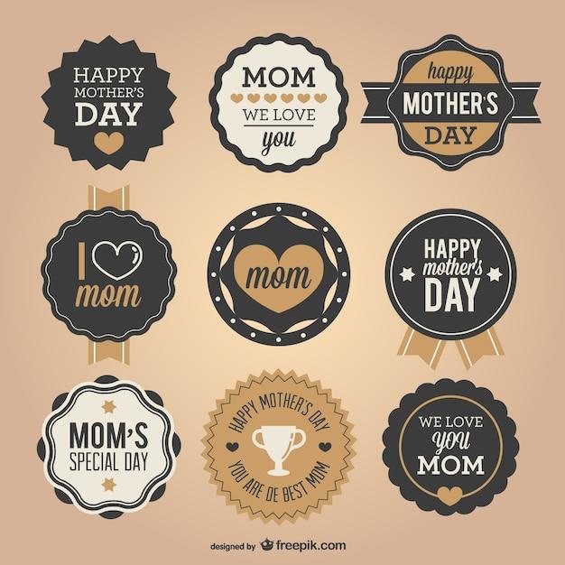 Pegatinas para el día de la madre vector gratuito