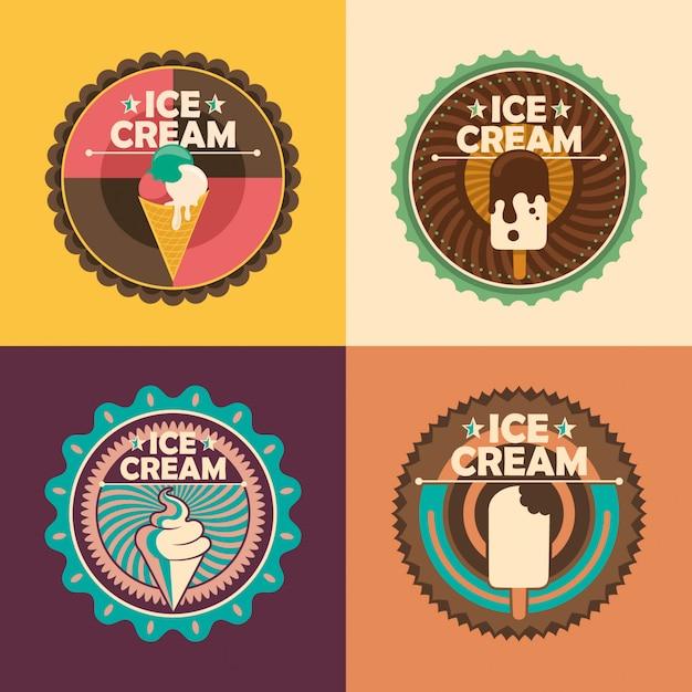 Pegatinas de helado Vector Premium