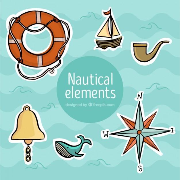 Pegatinas náuticas dibujadas a mano vector gratuito