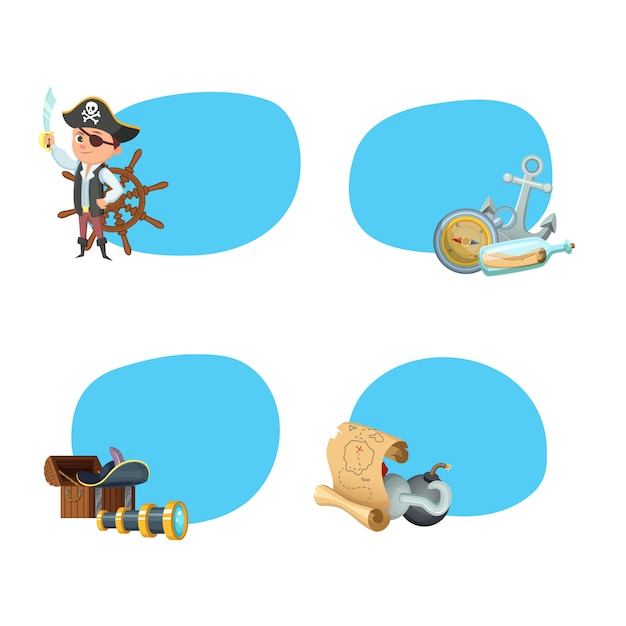 Pegatinas de piratas marinos de dibujos animados Vector Premium