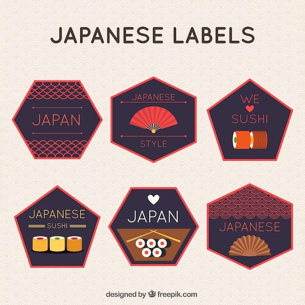 Pegatinas poligonales japonesas vector gratuito