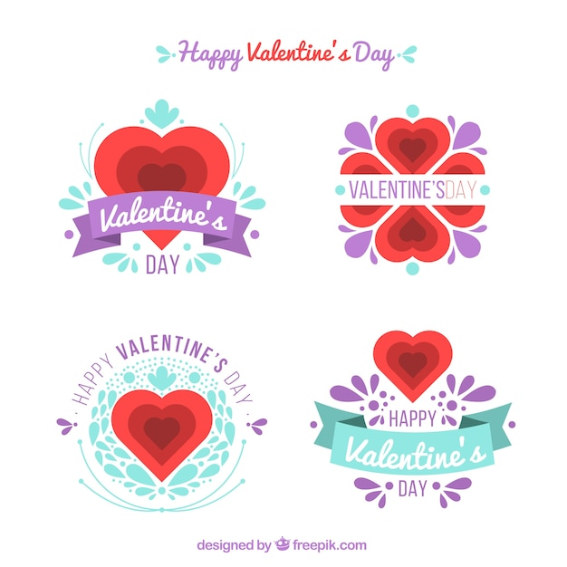 Pegatinas De San Valentín Bonitas Con Detalles Morados Descargar