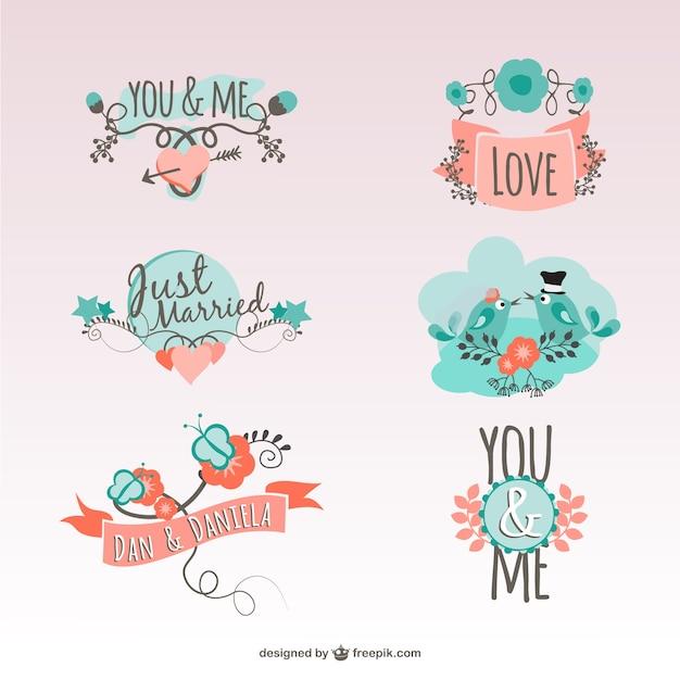Pegatinas vintage de amor | Descargar Vectores gratis