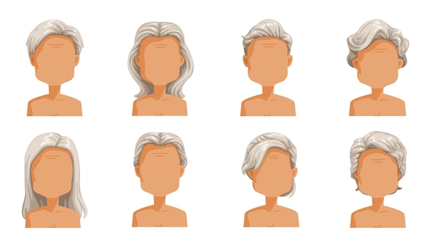 Peinado femenino mayor pelo de la mujer mayor. conjunto de pelo gris de peinados de dibujos animados de mujeres. colección de estilos elegantes de moda. Vector Premium