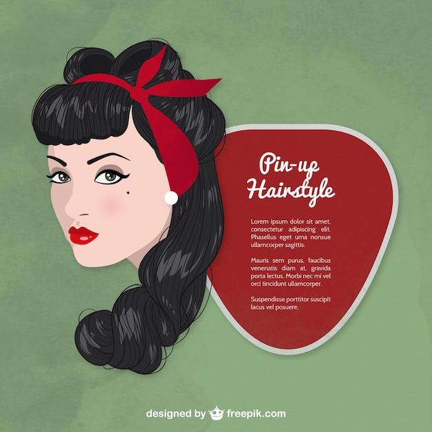 peinado pin up vector gratis - Peinados Pin Up