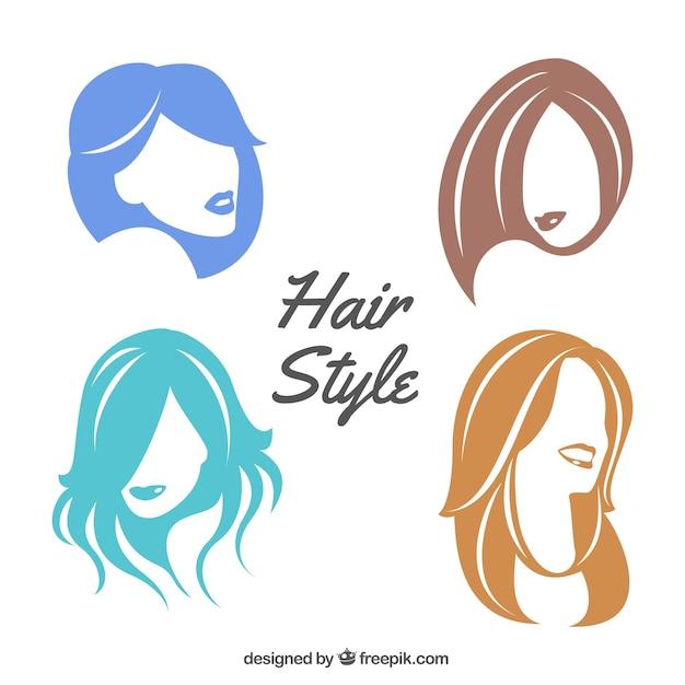 Peinados femeninos coloridos vector gratuito