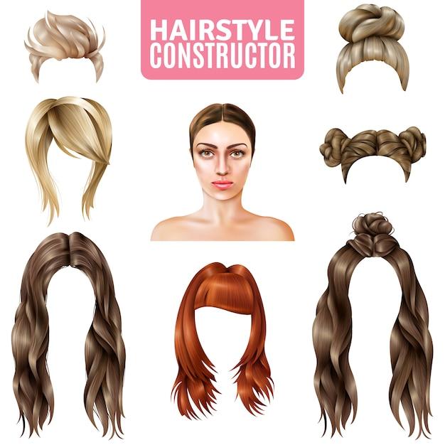 Peinados para mujeres constructor vector gratuito