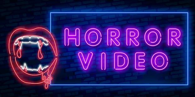Película de terror letrero de neón, letrero luminoso, estandarte ligero. Vector Premium