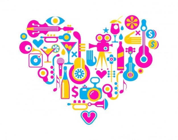 Peliculas y musica corazon Vector Premium