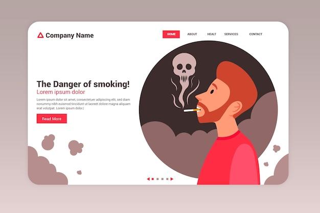 Peligro de fumar - página de destino Vector Premium