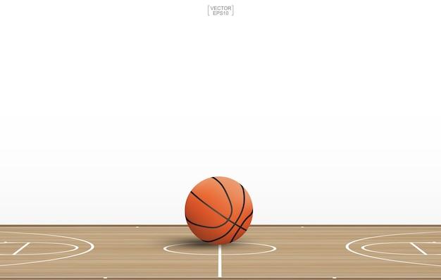 Pelota de baloncesto en la cancha de madera. | Descargar Vectores ...