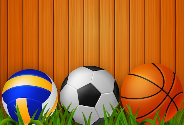 Fondo Con Iconos De Deporte: Pelota Deportiva Con Una Ilustración De Fondo De Madera