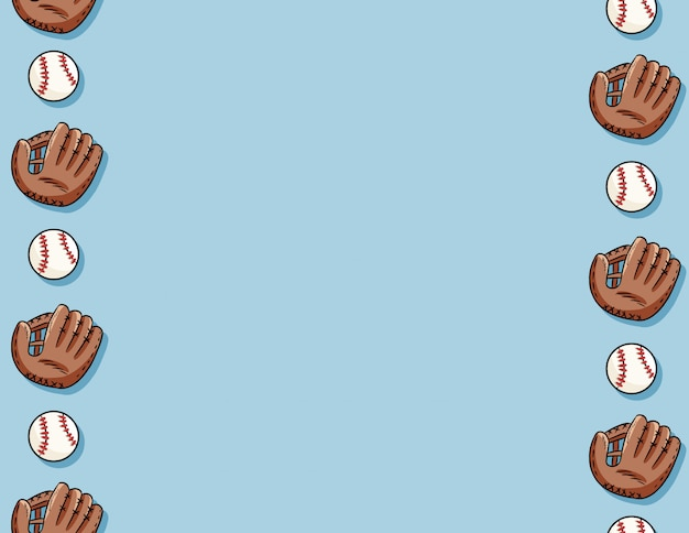 Pelotas de béisbol y guantes de patrones sin fisuras. plantilla de carta doodle lindo dibujado a mano pelotas de béisbol sobre fondo azul textura azulejo Vector Premium