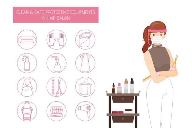 Peluquería femenina con máscara y protector facial, con equipos de protección limpios y seguros en peluquería, conjunto de iconos de contorno Vector Premium
