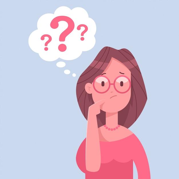 Pensando en el personaje de mujer de negocios. ilustración de dibujos animados de una mujer con un signo de interrogación aislado sobre fondo blanco. Vector Premium
