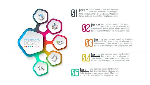 Pentágonos etiqueta infografía con 5 pasos. Vector Premium