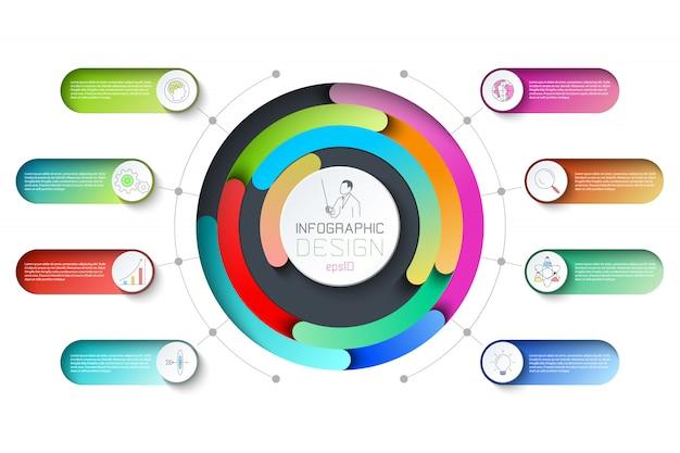 Pentágonos etiqueta infografía con 8 pasos. Vector Premium