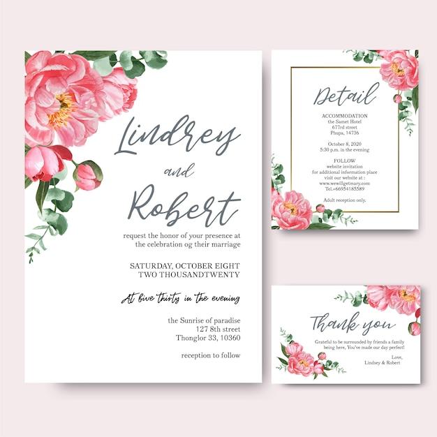 La peonía rosada florece la tarjeta de la invitación de los ramos de la acuarela, ahorra la fecha vector gratuito