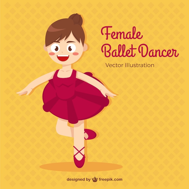 Pequeña bailarina de ballet en estilo de dibujos animados vector gratuito