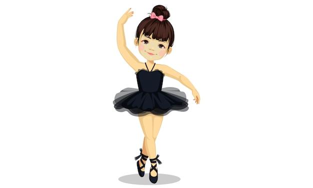 Pequeña bailarina linda en vestido de tutú negro Vector Premium