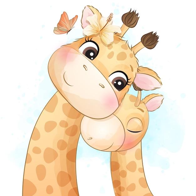 Pequeña ilustración linda de la madre y del bebé de la jirafa Vector Premium