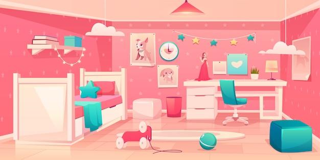 Pequeña niña dormitorio acogedor interior de dibujos animados vector gratuito