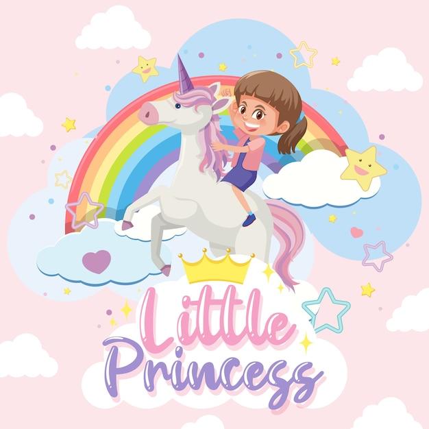 Pequeña princesa con niña montando unicornio sobre fondo rosa y azul pastel Vector Premium