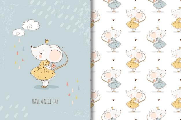 Pequeña tarjeta de princesa de ratón y patrones sin fisuras Vector Premium