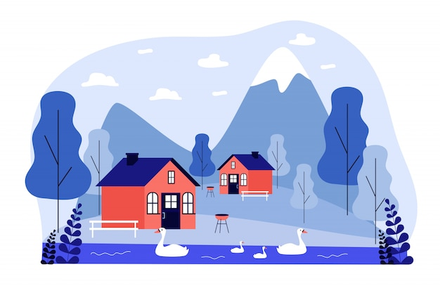 Pequeñas casas de campo o casas en las montañas Vector Premium