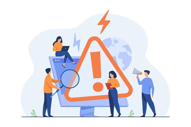 Pequeñas personas que examinan la advertencia de error del sistema operativo en la página web aislaron la ilustración plana. vector gratuito