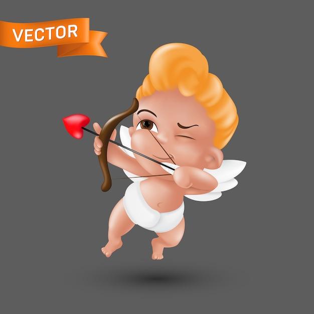 Pequeño ángel de cupido bebé en un pañal con un arco y flecha en forma de corazón. Vector Premium