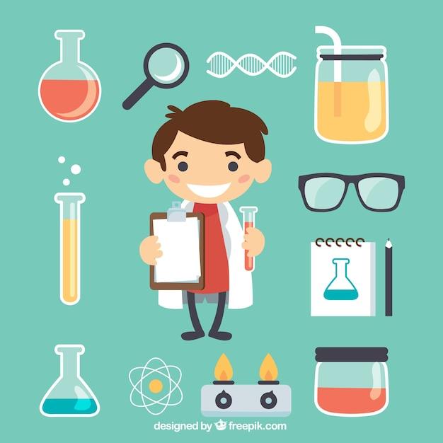 Pequeño científico con los elementos de laboratorio vector gratuito