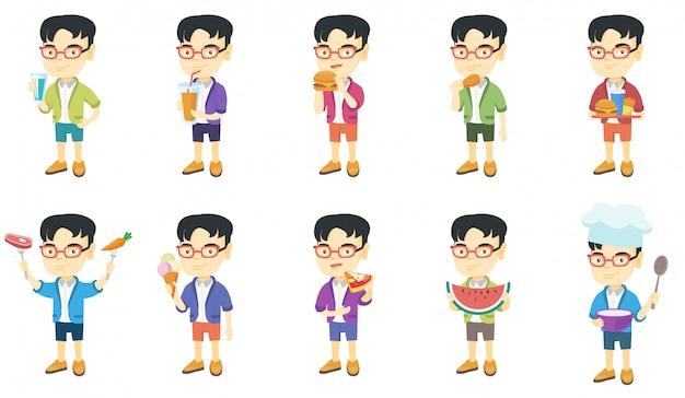 Pequeño conjunto de caracteres del muchacho asiático Vector Premium