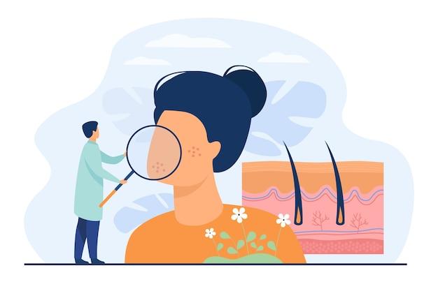 Pequeño dermatólogo que examina la ilustración de vector plano de piel de cara seca. diagnóstico o tratamiento de la enfermedad de la epidermis abstracta. dermatología, protección médica de la salud y concepto de cosmetología. vector gratuito