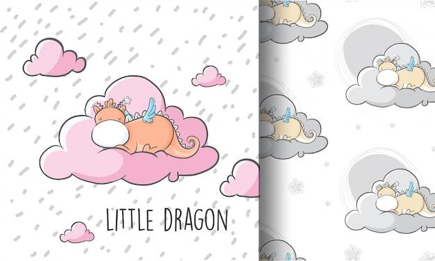 Pequeño dragón lindo que duerme en la nube Vector Premium