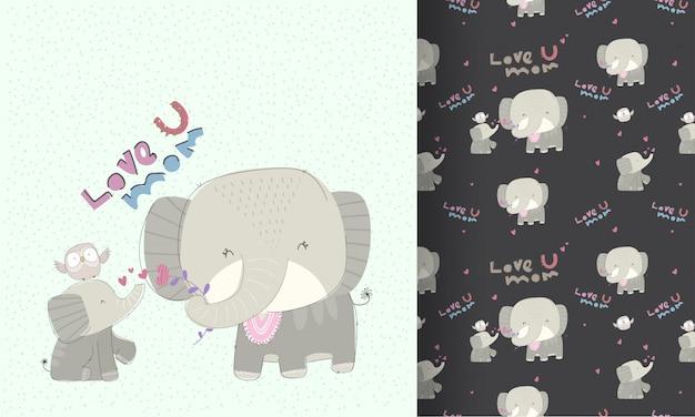 Pequeño elefante con patrones sin fisuras de encantadora mamá Vector Premium
