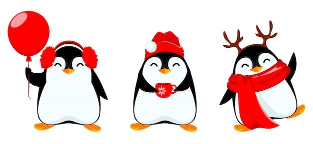 Pequeño pingüino lindo, conjunto de tres poses Vector Premium