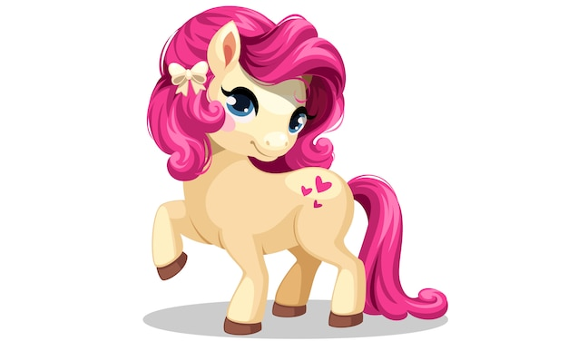 Pequeño pony blanco con ilustración de vector de peinado de color rosa vector gratuito