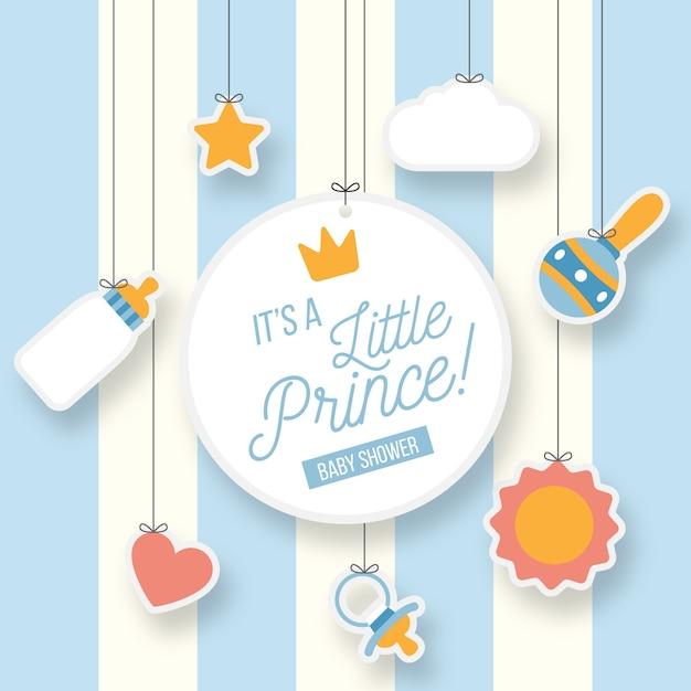 Pequeño príncipe niño baby shower vector gratuito