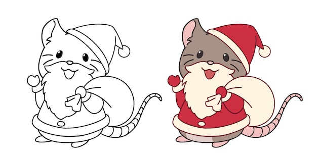 Pequeño ratón lindo con traje de santa y barba. ilustración de vector de contorno aislado sobre fondo blanco. Vector Premium