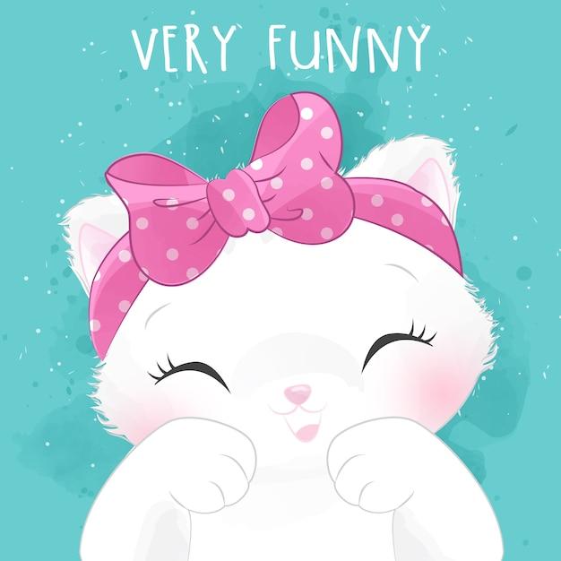 Pequeño retrato lindo del gatito con expresión feliz Vector Premium