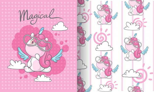 Pequeño unicornio en la ilustración de patrones sin fisuras de cielo para niños Vector Premium